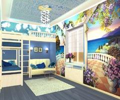 Дизайн-проект комнаты в морском стиле.